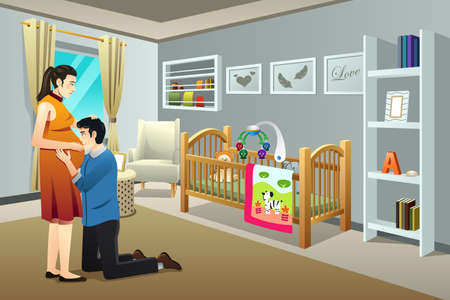nursery room: A vector illustration of a Pregnant Woman with Her Husband in the Nursery Room
