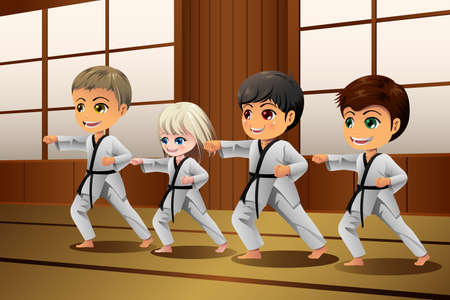 A vector illustration of Kids Practicing Martial Arts in the Dojo Ilustração