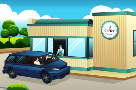A vector illustration of People Buying Coffee at The Drive-thru Coffee Shop Illustration