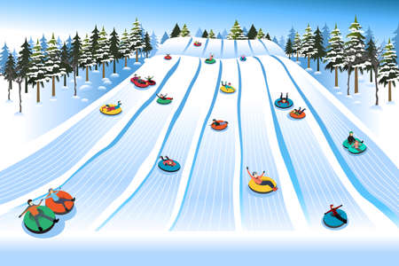 A vector illustration of People Having Fun Sledding on Tubing Hill During Winter