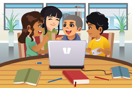 school computer: A vector illustration of School Kids Working Around a Laptop Computer