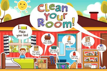 habitacion desordenada: Una ilustración vectorial de las tareas de limpieza en la habitación de los niños Infografía Vectores