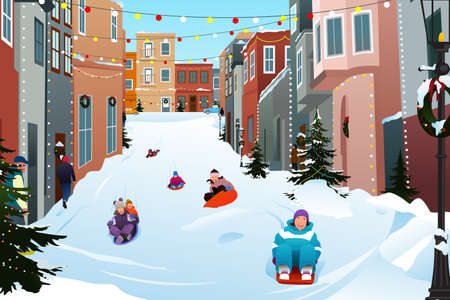 A vector illustration of Kids Sledding on a Snowy Street During Winter Season