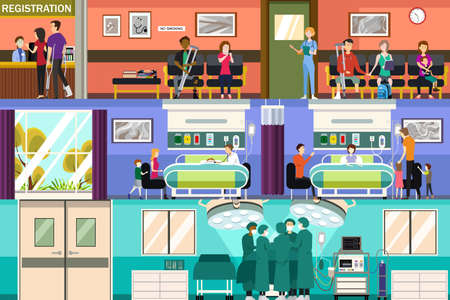 A vector illustration of Scenes at the Hospital Emergency Room and Surgery Room Illustration