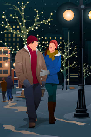romantic couple: A vector illustration of a Couple Walking on the Street on a Winter Evening
