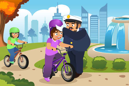 A vector illustration of Police Officer Putting on Helmet on a Kid Riding a Bike
