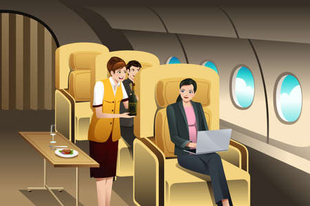 A vector illustration of First Class Passengers Being Served by the Flight Attendant Illustration