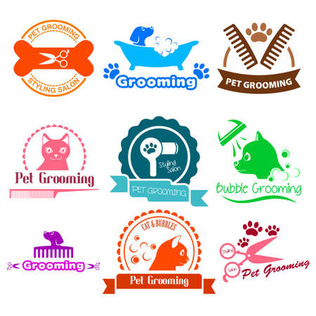 A vector illustration of Pet Grooming Service Illustration