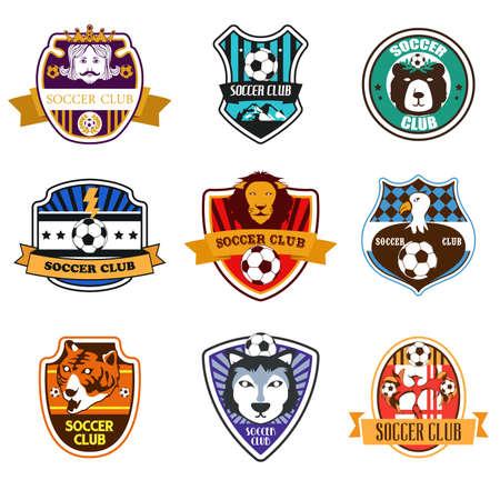 team sports: Una ilustración vectorial de fútbol del club Logos