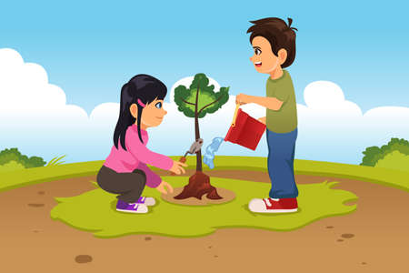 A vector illustration of Kids Planting and Watering a Tree