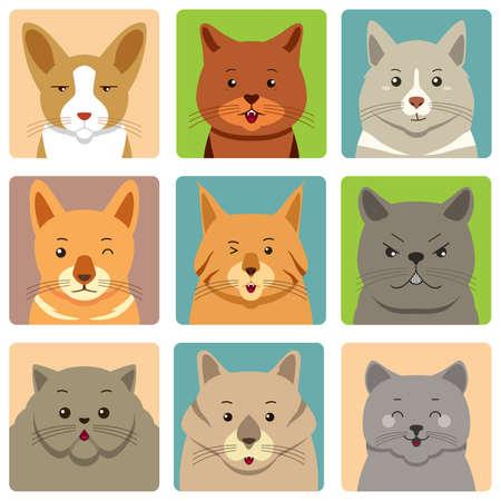 Una ilustración vectorial de gatos diferentes avatares y Expresión