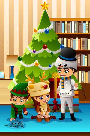 A vector illustration of Children Celebrating Christmas in Front of Christmas Tree Illustration