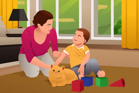 family playing: A vector illustration of Mother and Son Playing With a Cat at Home Illustration