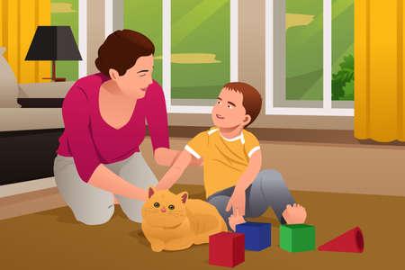 madre e hijo: Una ilustración vectorial de la madre y del hijo que juegan con un gato en casa