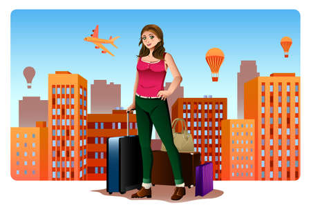 A vector illustration of a Young Woman Traveling Around The World Concept