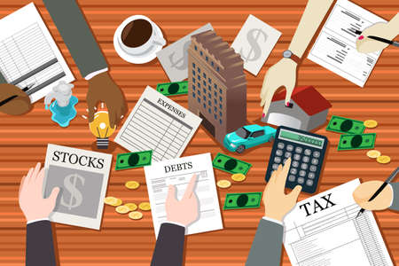 planning: A vector illustration of people working on financial planning