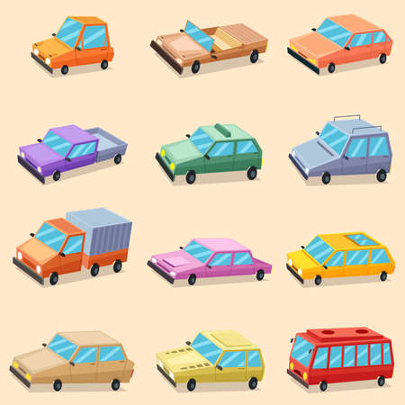 A vector illustration of Car Vehicle Transportation Icons