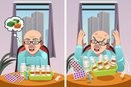 prescription: A vector illustration of an Elderly Man Angry at The Cost of His Prescription Drugs