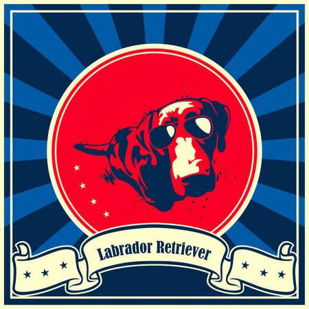 labrador: A vector illustration of Labrador Retriever Dog Poster