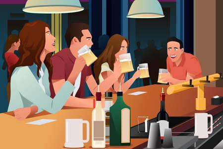 Een vector illustratie van jonge mensen plezier hebben in een bar Vector Illustratie