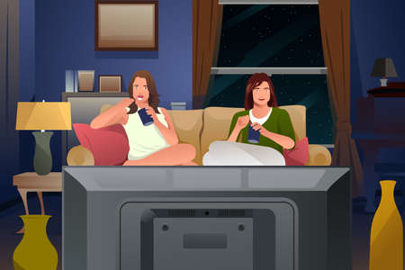 modern living room: A vector illustration of Two Female Friends Watching TV and Eating Ice Cream