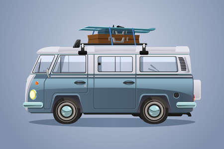 A vector illustration of Van With Skis and Luggages on Top Going To Winter Vacation
