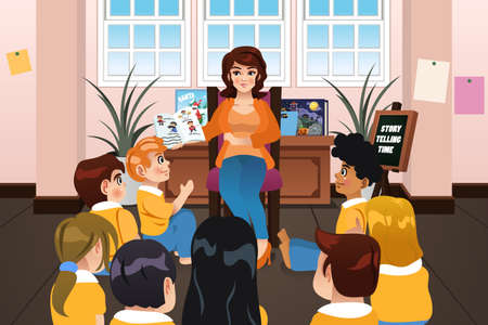 story time: A vector illustration of a Preschool Teacher Reading a Book During Story Time Illustration
