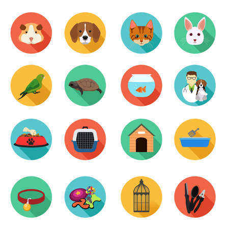 A vector illustration of Animals and Veterinarian Flat Icons