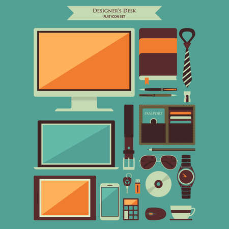 A vector illustration of Designer Desktop Items Flat Icons