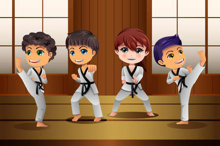 A vector illustration of Kids Practicing Martial Arts in the Dojo Stock Illustratie