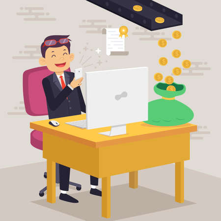 passive income: A vector illustration of a Happy Businessman Making Money Concept