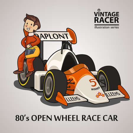 A vector illustration of a Race Car Driver Illustration