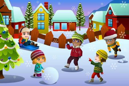 Una illustrazione vettoriale di bambini che giocano nella neve durante la stagione invernale Vettoriali