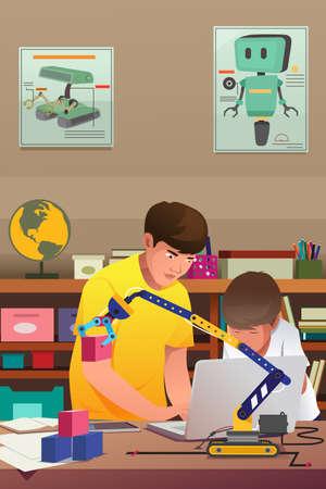 robotic: A vector illustration of Kids Doing Robotic Experiment Illustration