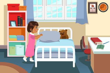 bedroom: A vector illustration of a Little Girl in Her Bedroom