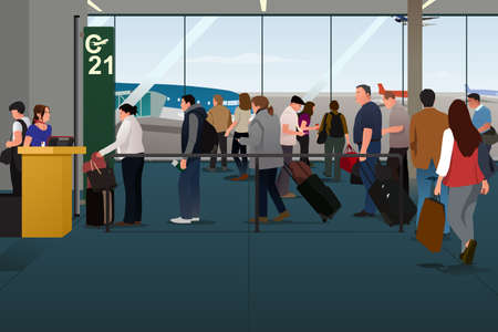 A vector illustration of Plane Passengers Boarding the Plane on the Departure Gate Vettoriali