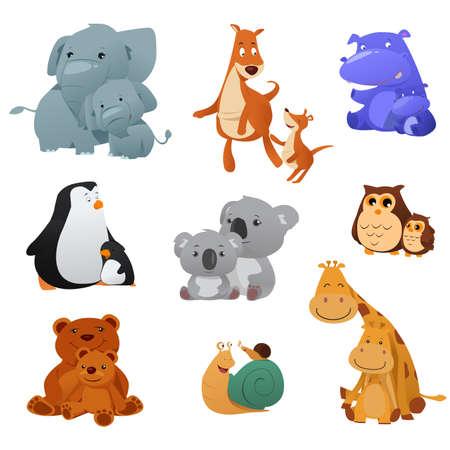 Una ilustración vectorial de los animales silvestres y su bebé joven