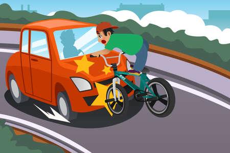 Ilustracji wektorowych Kid Riding a rowerów w wypadku z samochodu