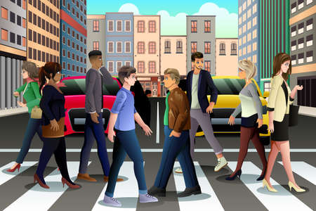 rush hour: A vector illustration of City People Crossing the Street During Rush Hour Illustration