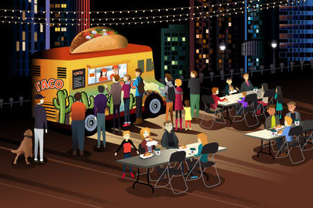 A vector illustration of People Eating Taco at Taco Truck at Night Vectores