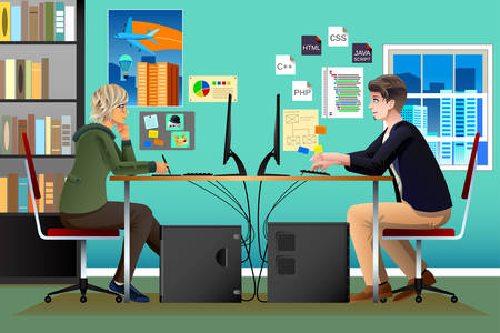 coworker: A vector illustration of Programmer and Designer Working in an Office Illustration