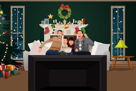 Una ilustración vectorial de TV de observación de la familia durante la temporada de Navidad