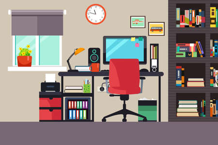 home and office: A vector illustration of Home Office in Flat Style