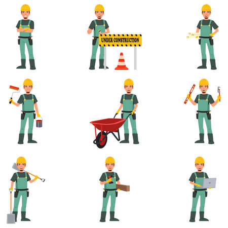 architect drawing: A vector illustration of Construction Worker Doing Work Illustration