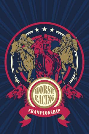 Una illustrazione vettoriale di cavalli Racing Championship poster