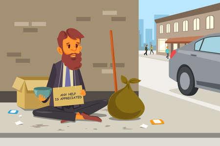 路上ホームレス乞食のベクトル イラスト