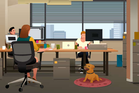 A vector illustration of Business People Bringing Pet to Office