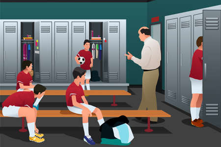 locker room: A vector illustration of Soccer Coach Talking to the Players in the Locker Room