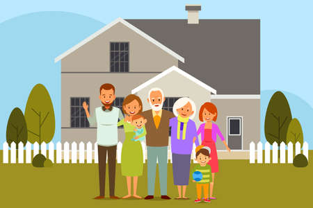 A vector illustration of Multi Generation Family in Front of a House Illustration