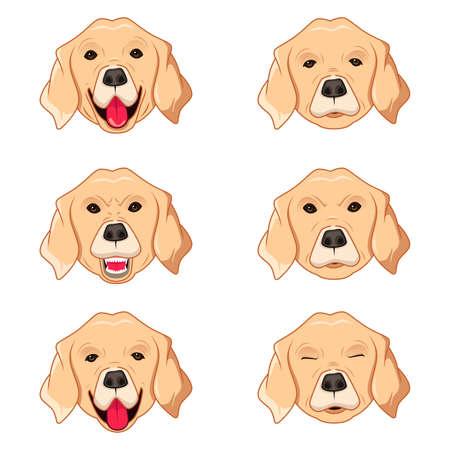 labrador: A vector illustration of Labrador Retriever Emoticons Illustration